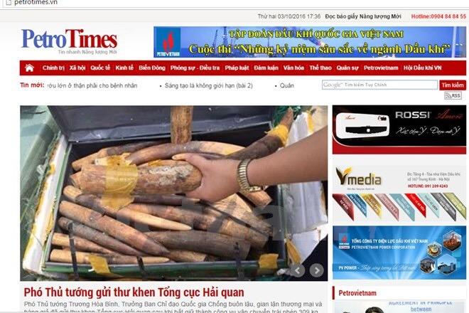 Ảnh chụp màn hình Báo Petrotimes chiều 3/10.
